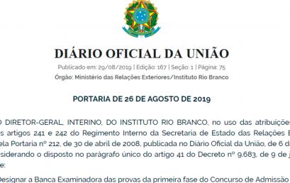Publicada a BANCA CACD 2019 – PRIMEIRA FASE